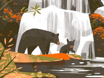 Great Smoky Mountains National Park (Detail) outdoors illustration bears national parks great smoky mountains chris turnham art direction fifty-nine parks print series