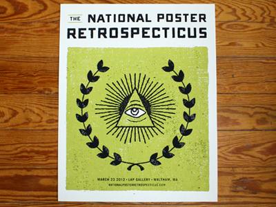 National Poster Retrospecticus Poster (two color print) national poster retrospecticus lap gallery boston jpb jp boneyard john boilard texture usa eye of providence laurels