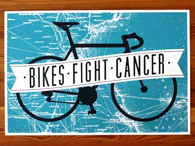 Bikes Fight Cancer Poster (2012) bikes fight cancer jp boneyard john boilard poster bicycle banner muncie massachusetts map