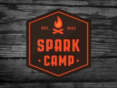 Spark Camp Logo spark camp orange brown camp fire flame logo jp boneyard john boilard jpboneyard johnboilard