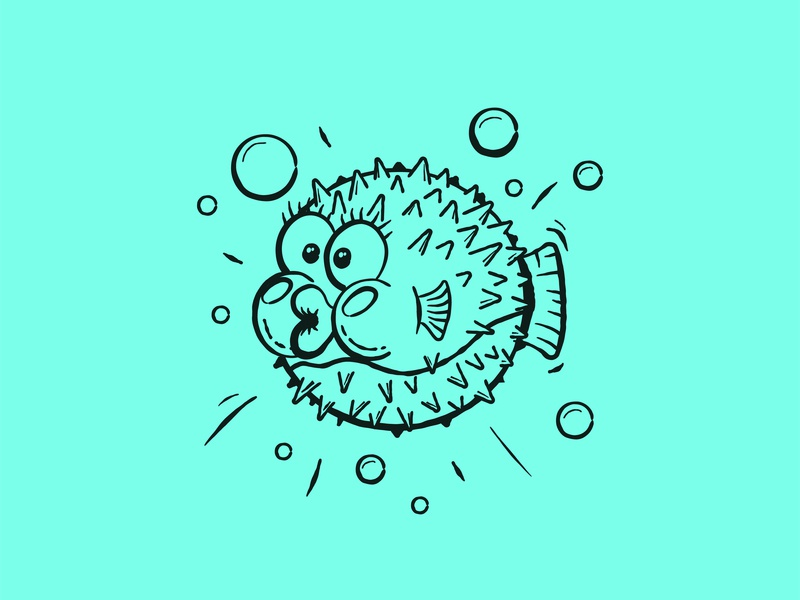 Porcupine Fish comic vector animal sea under the sea under water fish porcupine fish