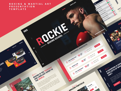 ROCKIE – Boxing & Martial Art Powerpoint Template red punch professional power mma match martial art kickboxing karate gym gloves fitness fighter fight dark boxing presentation boxing boxer box arena