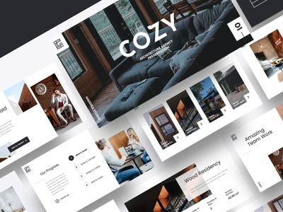 COZY – Architecture Agency Powerpoint Template architectural detail plywood creative futuristic black and white minimalist business minimal art geometric white interior exterior architectural building construction design modern abstract architecture