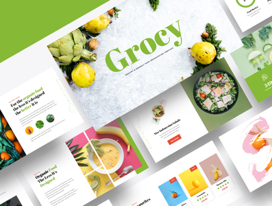 Grocy – Grocery & Organic Food Powerpoint Template organic food fruit powerpoint nutrition tomato diet buying groceries organic green market basket vegetable fresh fruit store healthy supermarket grocery food