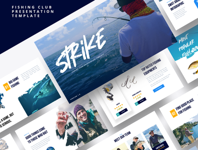 STRIKE – Fishing Club Powerpoint Template water vacation sport salmon rod river reel nature man line lake hobby fishing rod fishing powerpoint fishing club fishing fisherman fish catch boat