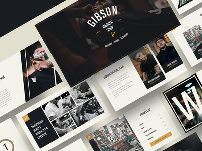 GIBSON – Barbershop & Shaving Powerpoint Template shave salon retro mustache man male hipster hairstyle haircut hair grooming gentleman classic business beauty beard barbershop powerpoint barbershop barber shop barber