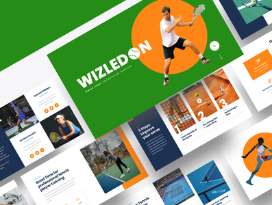WIZLEDON – Tennis Sport Powerpoint Template training outdoor net exercise professional tournament line active fitness white background match racket play court competition game ball tennis sport