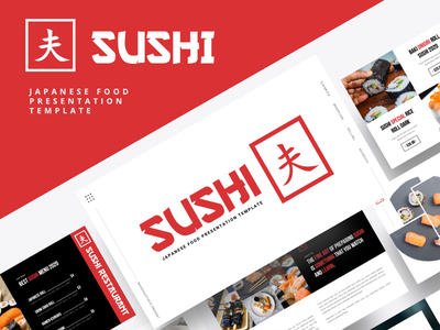 SUSHI – Japanese Food Powerpoint Template branding logo minimal ui business portfolio creative professional sushi roll presentation sushi powerpoint japanese sushi