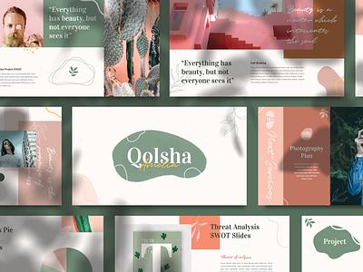 Qolsha- Creative Powerpoint Template green magazine studio social media blogger booklet catalog abstract fashion portfolio photography branding pitch deck calm minimal scandinavian lookbook keynote ppt creative