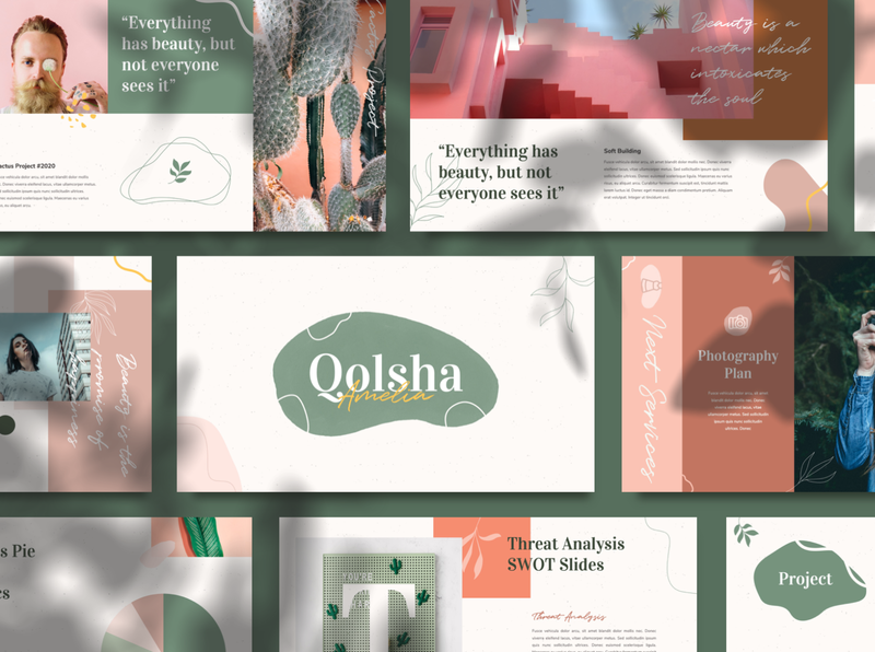 Qolsha - Creative Powerpoint Template green magazine studio social media blogger booklet catalog abstract fashion portfolio photography branding pitch deck calm minimal scandinavian lookbook keynote ppt creative