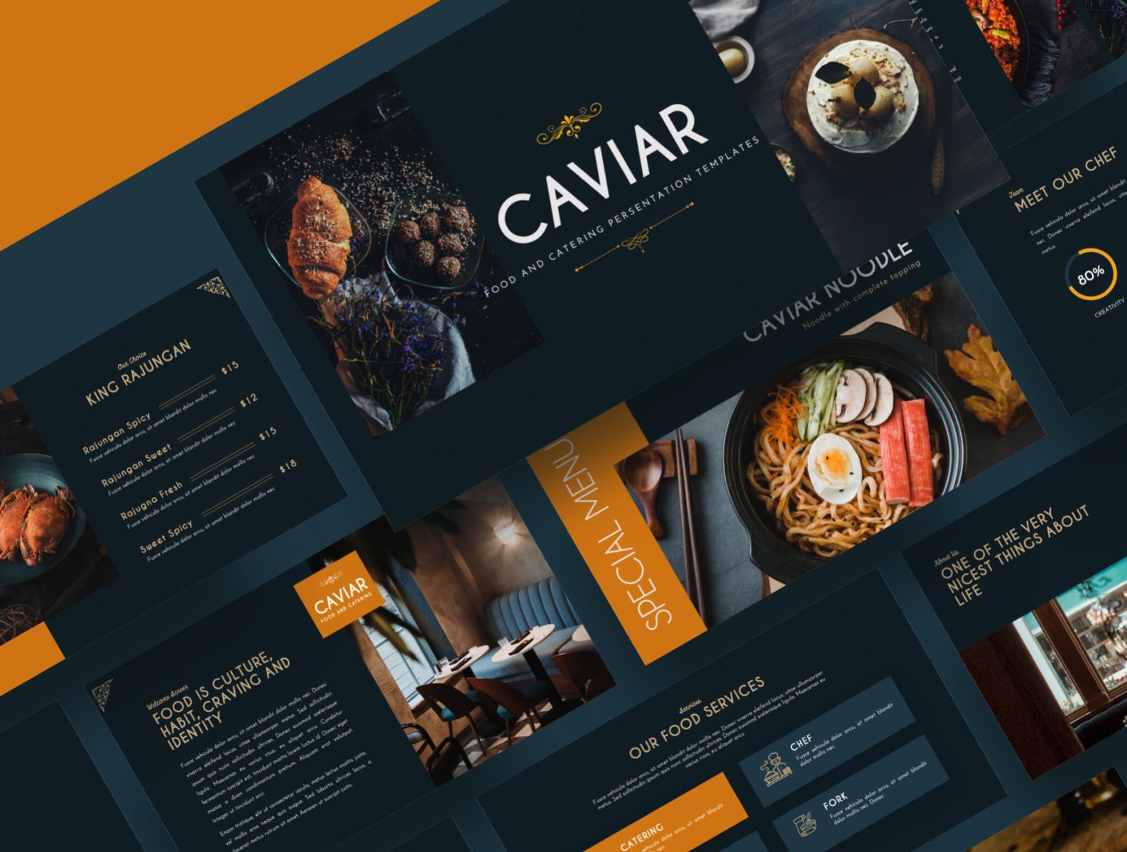 Caviar Catering Food Powerpoint Template By Masdika Studio On Dribbble
