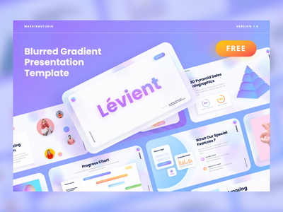 Lévient - Creative Gradient Powerpoint Template (FREE DOWNLOAD) pitch deck professional digital agency beauty feminine soft smooth gradient gradient blurred creative