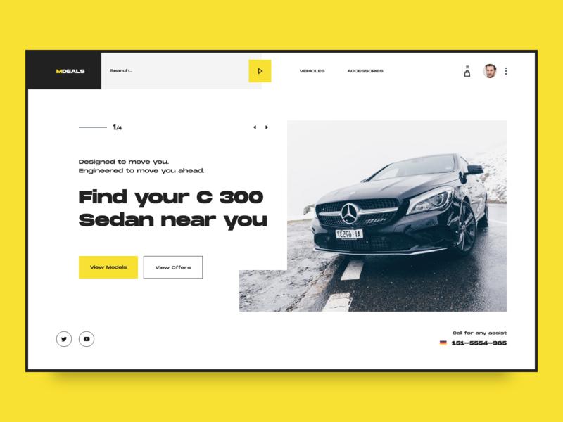 Car Dealers Website amg black and white auto shop store yellow webdesign uxdesign uxui ui design cars dealer mercedes web ux ui
