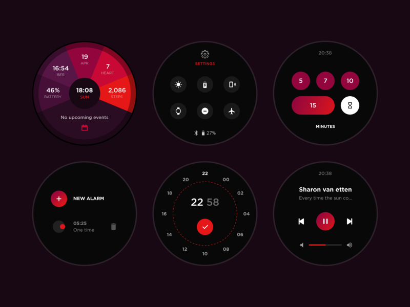 Smartwatch Design on Android Wear OS georgia giomak webdesign red colors purple uidesign watchface uiux ux ui wearos smartwatch wearable adobexd colorful