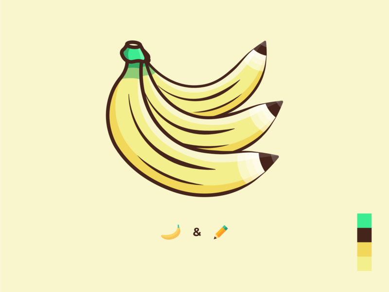 Banana & Pencil - illustration