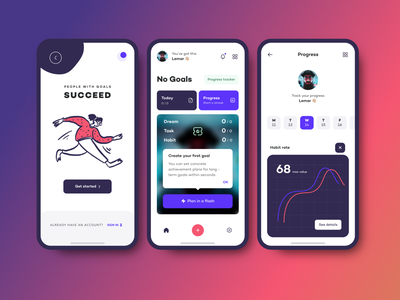 Goal Achievements - Mobile App apps colors adobexd webdesign giomak mobile uiux mobile ui mobile design mobile app design vibrant goals app design uxdesign ux ui uidesign mobile app