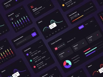 Dashboard - UI Components! dark theme vibrant color user interface design user experience user interface userinterface webdesign web components uxui ux  ui uxdesign uidesing uidesign ux ui ui components ui component dashboard ui kit dashboard design dashboard ui