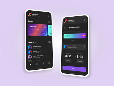 Digital Wallet - Mobile Application For IOS georgia giomak user experience user inteface cards ui money transfer dark theme digital wallet uxdesign ux design ui design uidesign mobile application mobile app design mobile app adobe xd adobexd