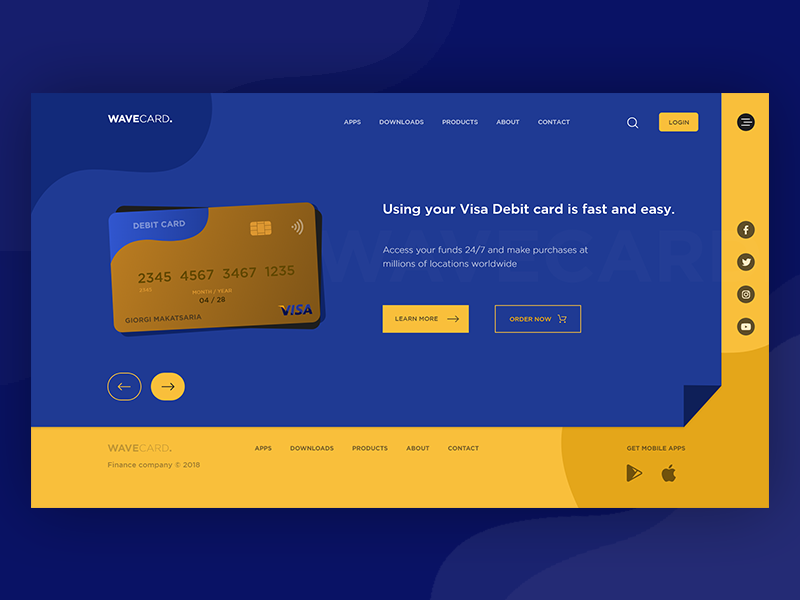 Wavecard - Landing page website finance debit card wavecard