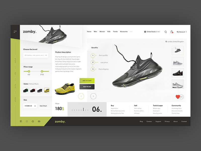 Zomby - Online store of Sports shoes ! shoes sport store website