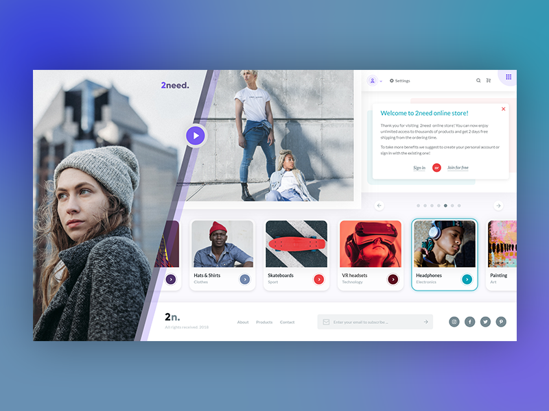 2need - Online store's Landing & Products page onlinestore ui  ux design ui web design