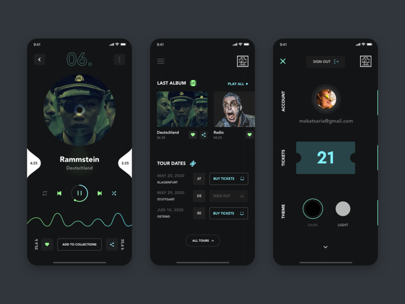 """Mobile App For Famous German Band """"Rammstein"""" giomak rammstein mobile design mobile app ux ui"""