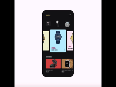 Mobile App for purchasing watches !!! adobe xd mobile app ux ui