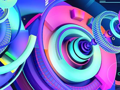 DIgital fun 3d neon colors gradients texture cinema4d photoshop tech glows blue pink