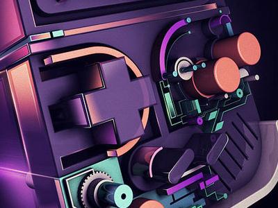 Nextlevel Gameboy gameboy nintendo rik oostenbroek nkeo 3d illustration cinema4d neon light depth