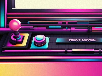ARCADIA 3d arcade 80s neon cinema photoshop gradients pink green