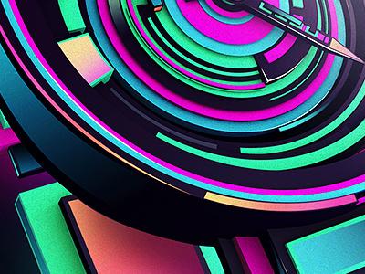 CLOCKWORXXX watch 3d cinema gradients neon rik oostenbroek grain
