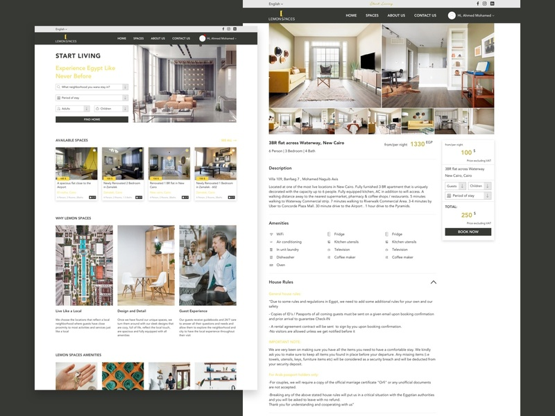 Lemon Spaces illustration design uiux listing rental webdesign ui  ux design interface ecommerce sketch uidesign