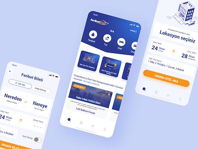 App: Feribotlines travel agency mobile dailyui website travel app interface ui ux design