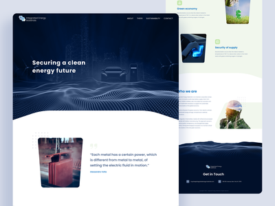 Landing Page: Integrated Energy Materials homepage header illustration figma landing website interface ux ui design