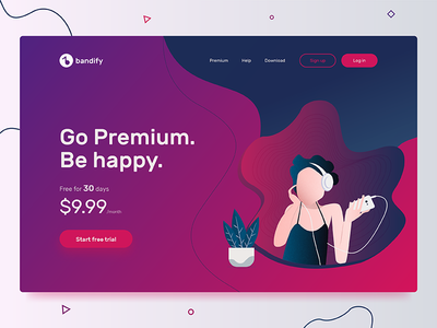 Landing Page - Daily UI #003 dailyui flat vector design illustration landing web music app ux ui daily
