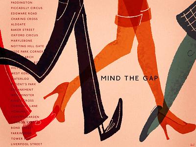 Mind The Gap tube england uk illustration