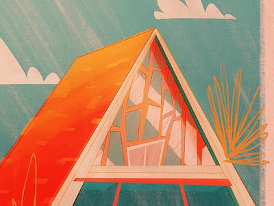 36 Days of Type | A architecture midcentury retro house beach beachhouse illustration 36days 36daysoftype 36days-a