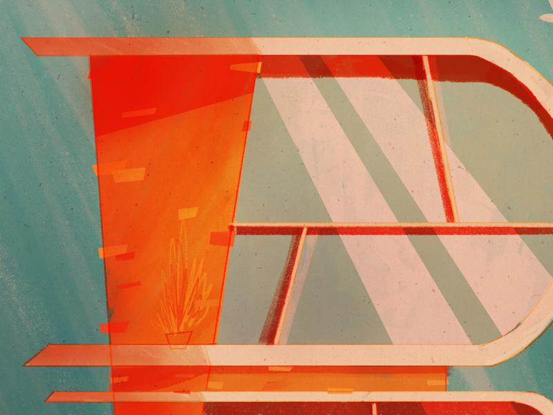 36 Days of Type   B midcentury retro architecture beachhouse house beach illustration 36days-b 36daysoftype