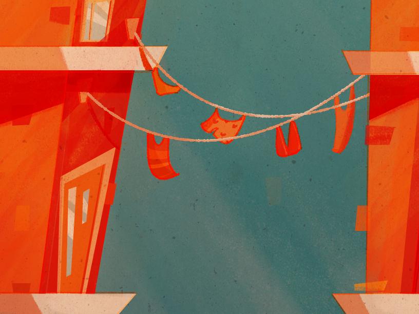 36 Days of Type | H digitalpainting clothesline beach retro architecture illustration 36days-h 36daysoftype
