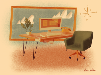 Just A Desk and a Swanky Chair workspace work 70s chair desk retro illustration