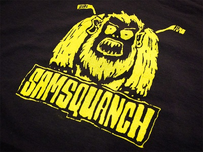 Samsquanch hand drawn logo samsquanch hockey screen print yellow monster character