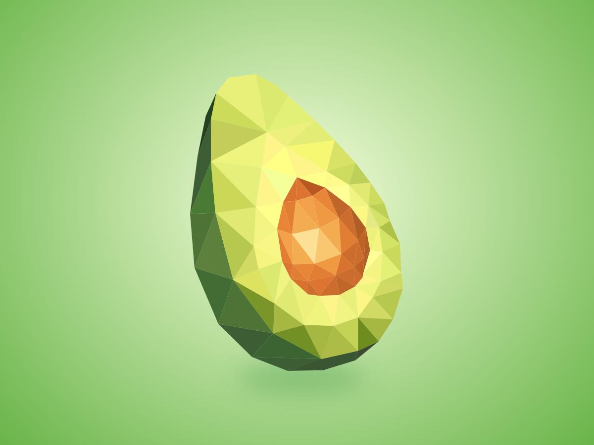Avocado polygon fruits lowpoly
