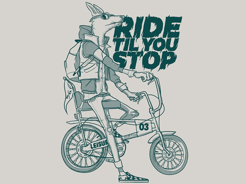 Ride or Don't animals bike type screenprint apparel t-shirt chopper