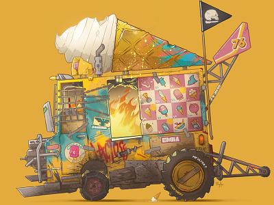 Ice Cream lowbrow pop color illustration