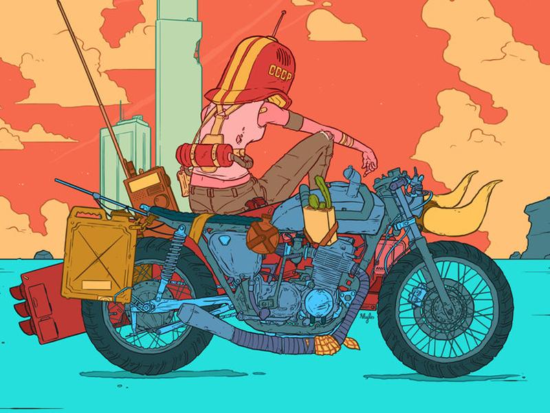Brat lowbrow pop color motorcycle illustration