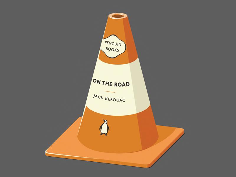 Read between the Lanes book penguin on the road jack kerouac road cone