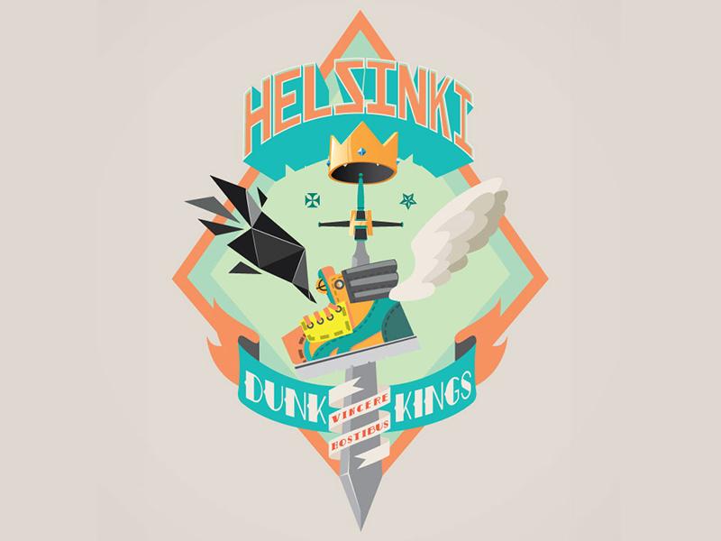 Helsinki Dunk Kings basketball crown wings crest sword ribbon banner shoe