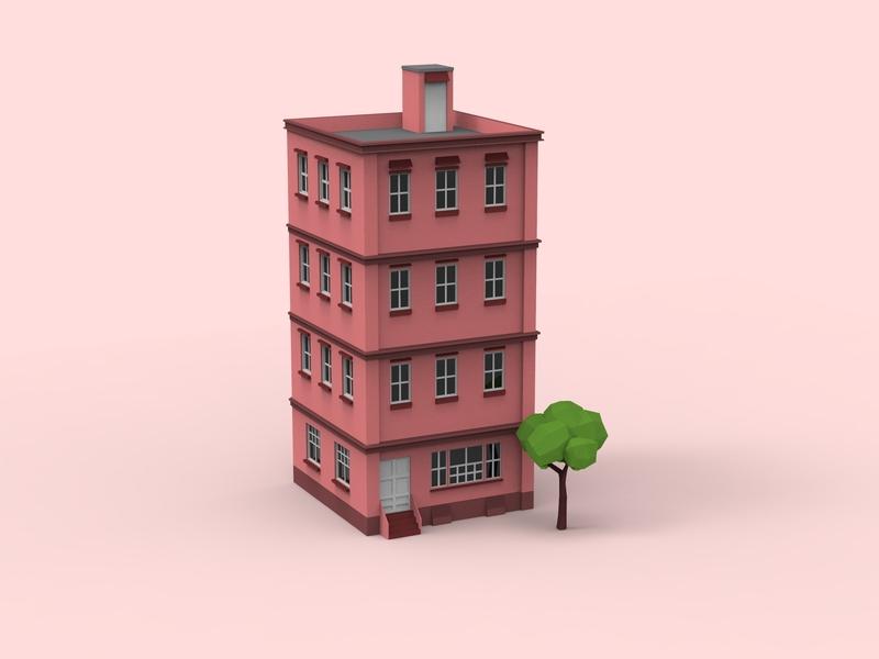 Street Building isometric illustration modeling building architechture illustration 3d