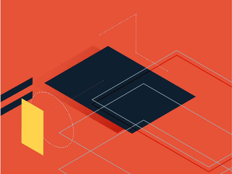 Isometric Abstraction shadow simple lines circle square isometric