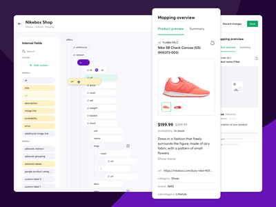 Product feed management - XML file mapping - Feedink desktop app feed management ui design preview mapping xml file drag and drop product feed desktop app